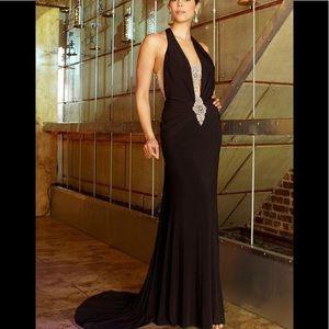 Terani Couture Chic Bead Embellished V-Neck-Black